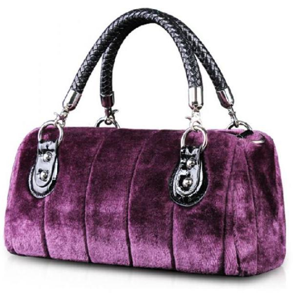 Purple Tote Bags Quality Velour Super Soft Man Made Rabbit Fur Purse Purple High Quality Rabbit Fur Bags