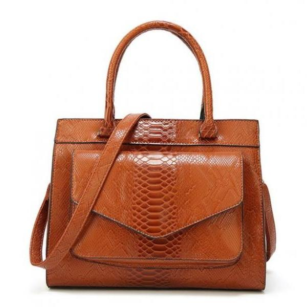 Brown Leather Bags Snake Pattern Tote Bags Handbags Women European and American Style Messenger Bags