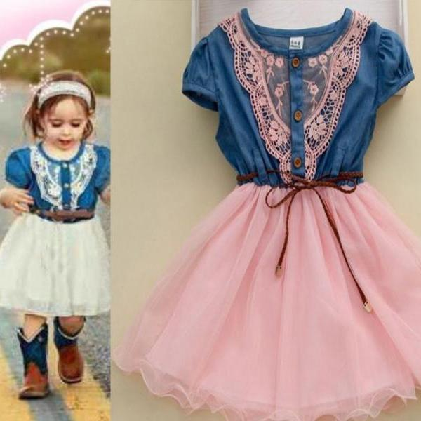 Pink Dress Denim Summer Cowgirl Style Dress-Girls Denim Pink Dress Girls Cowgirl Toddler Western Denim Props