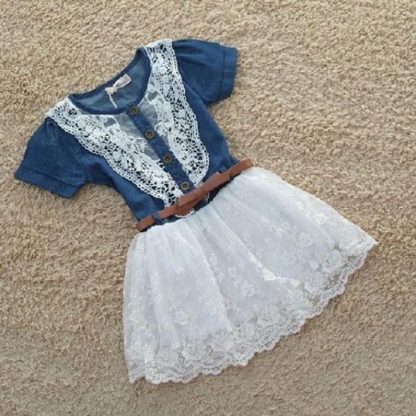 New Style Girls Denim Dress for Girls- Cowgirl Western Style Toddler Girls Denim Tutu Dress Denim Floral Dresses