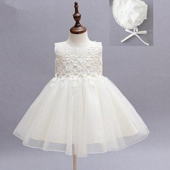 New Arrival Girls White Dress Christening Baptism Dress with Matching Ruffled Pretty Bonnet