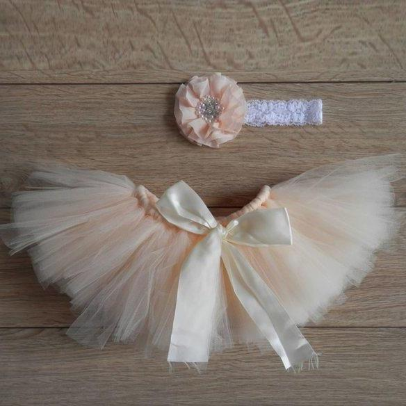 Peach Tutu Skirt with Matching Baby Headband Ready for Shipping Peach Skirts for Girls