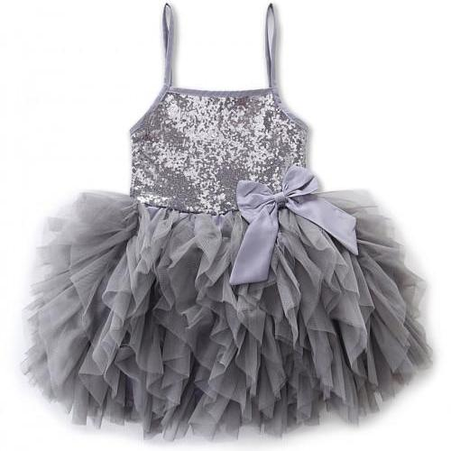 Gray Dress Gray Tutu Dress Tiered Ballerina Outfit 5T Dress Silver Dress