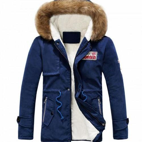 Navy Blue Parkas for Men and Women Hooded Thick and Warm Jackets Cotton Duck Down