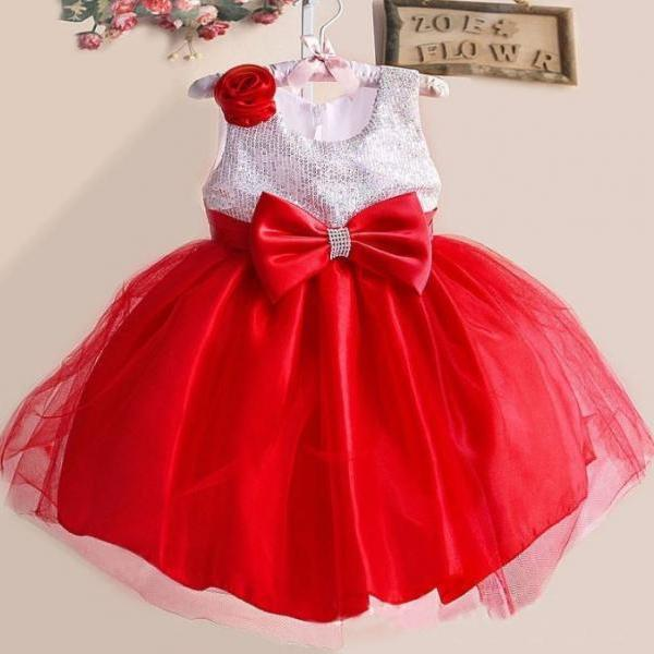 Red Dress Christmas Dress for 6T Dress with Bows Sequined Bow Dresses Ready for Shipping Red Tutu Dress Red Baby Dress