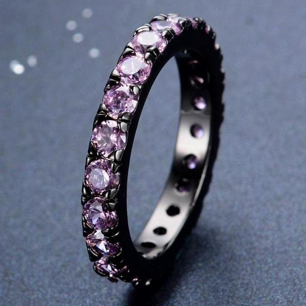 Black Gold Filled Purple Zircon Stone Black Ring with Amethyst Purple Rings Size 7 Rings