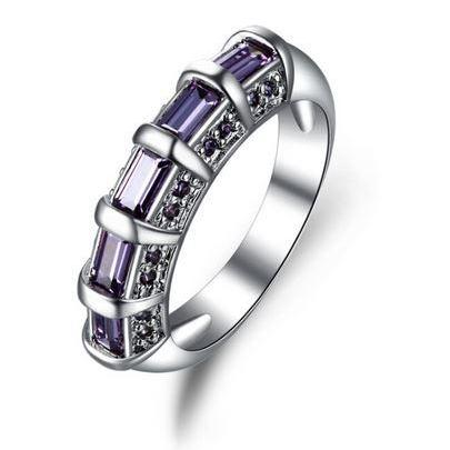 White gold plated Purple Amethyst Jewelry AAA Zircon Bijoux Wedding Rings