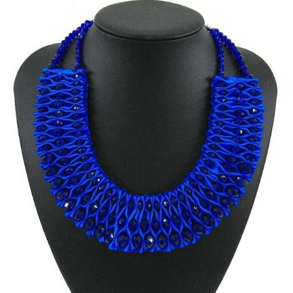 Royal Blue Necklaces for Women Royal Blue Chokers for Women Fashion Trendy Bib Statement
