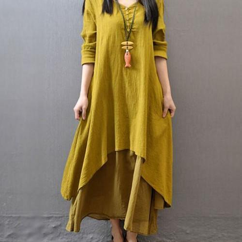 Linen Dresses Plus Sizes Asymmetrical Hems Womens High Quality Dresses High Quality Linens