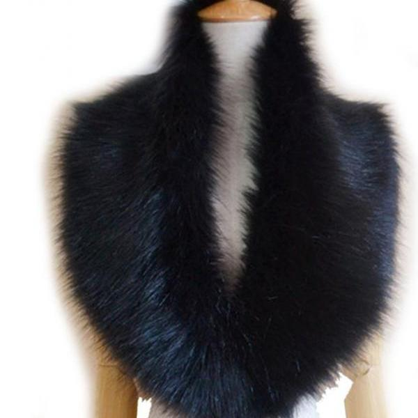 Black Winter Faux Fur Collar Scarf Warm Shawl Wrap Cape-Super Soft Cape Collar