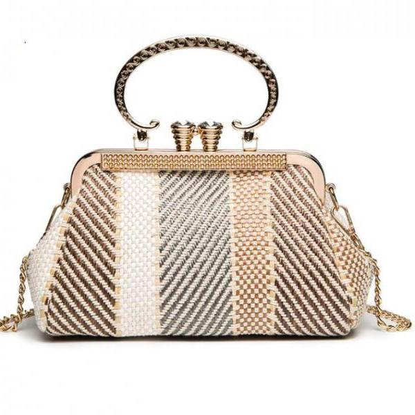 Unique Find Basket Weave Pattern Clutch Bags for Women Beige Purses Golden Trim Luxury Shoulder Bags Handiwork