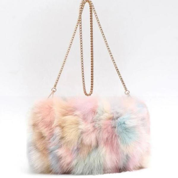 Free Shipping Rainbow Color Fox Fur Shoulder Bags for a Fur Lady Unique Large Functional Fur Clutch