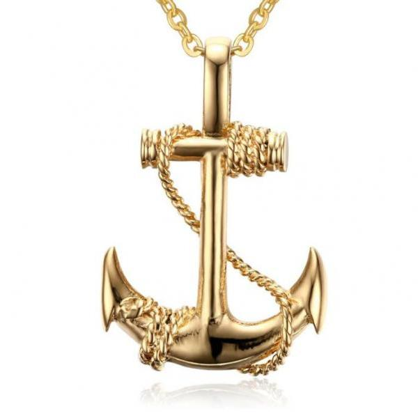 Fashion Anchor Titanium Anchor Pendants Gold Necklaces for Sailors Wives of Sailors