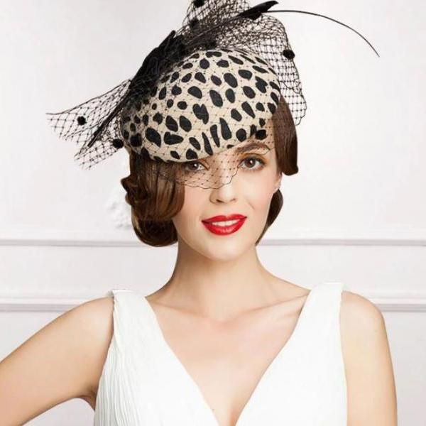 Leopard Hat New Bridal Headpiece New Fascinators for Women Pillbox Hats for Women England/ European Style