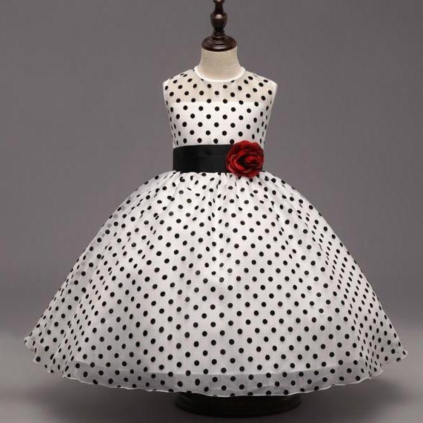 Polka Dots Dress for Toddler Girls Ready for Shipping Corsage Rose Ballgown Dress for Girls White Dress White Tutu Dress