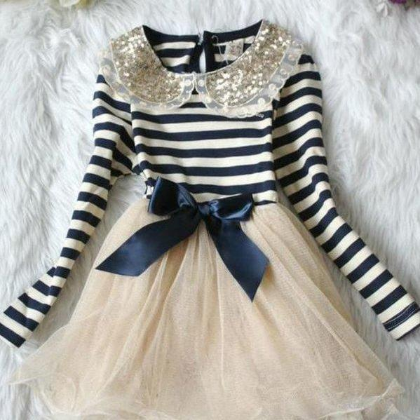 Ready to Ship Girls Dresses Thanksgiving Dress with Navy Blue Stripes Dresses Sequined Golden Collar
