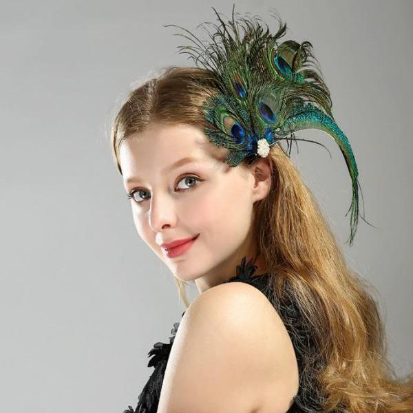 Costume Peacock Fascinator Hair Accessories Headpiece for Women