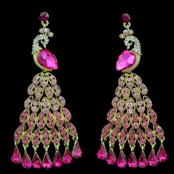 Peacock Long Earrings Gold Plated