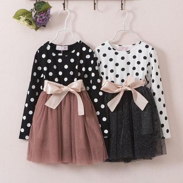 Polka Dots Dresses 3T,4T,5T,6T Girls Casual Dress