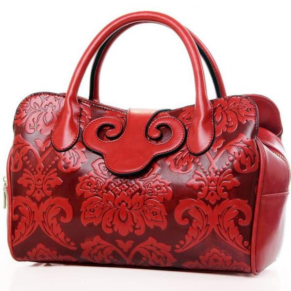 Red Tote Bag with Unique Embossed Design Red Leather Bags for Women