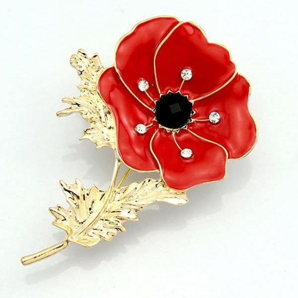 Red Brooch for the Mother of the Bride
