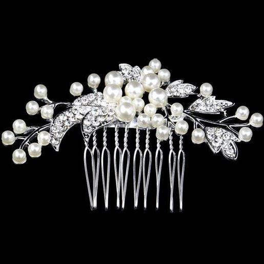 Silver Hair Combs Pearl Hair Comb Wedding Comb Rhinestone Crystal Pearls Hair Combs