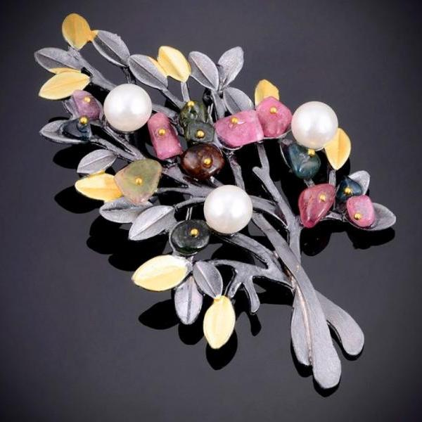 Men and Women Natural Stone Gray Brooch Accessories Retro Tree Pearl Pin Brooch