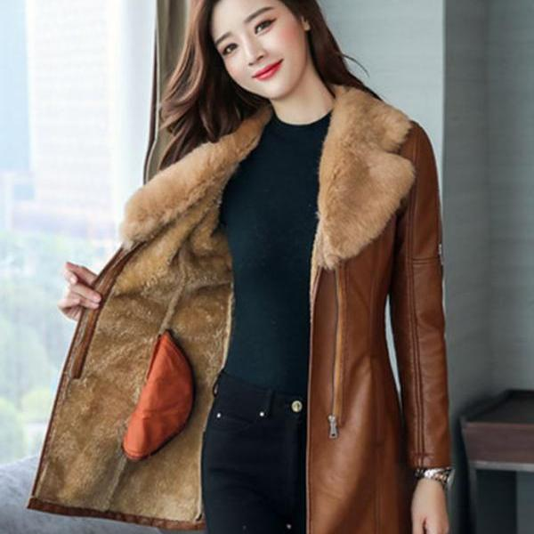 Slim Fit Very Soft Fur Lining Brown Leather Jackets FREE SHIPPING Medium Size Brown Leather Trench Coats for Women