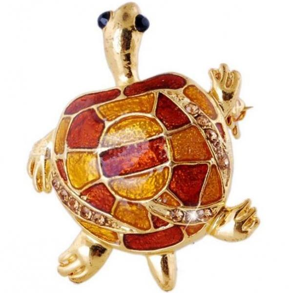 Geometric Turtle Shells Brooch Gold Plated Turtle Brooch for Men and Women