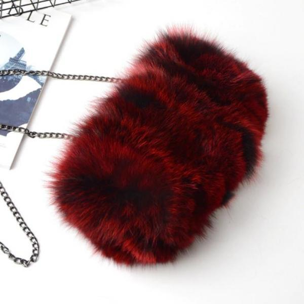 Women Leather Burgundy Handbags Free Shipping Fox Fur Shoulder Bags for a Fur Lady Unique Large Functional Fur Clutch