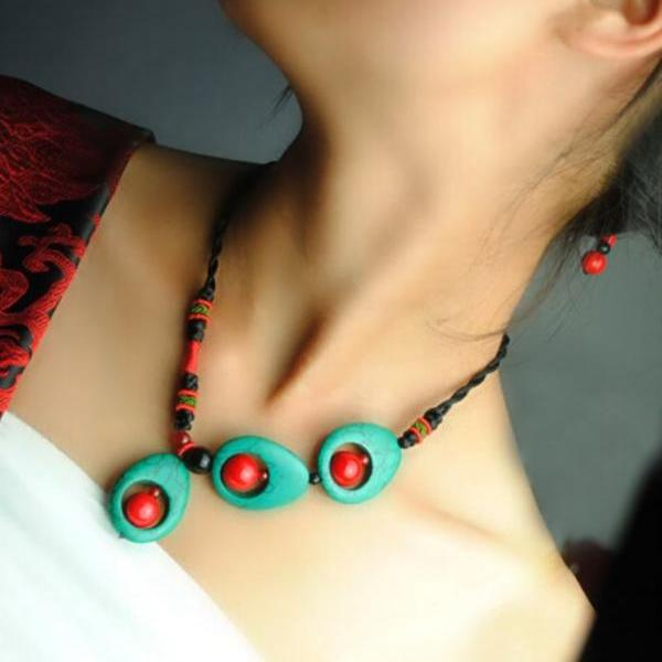 Handmade Vintage Ethnic Necklace Turquoise and Red Coral Beads Handmade Necklace
