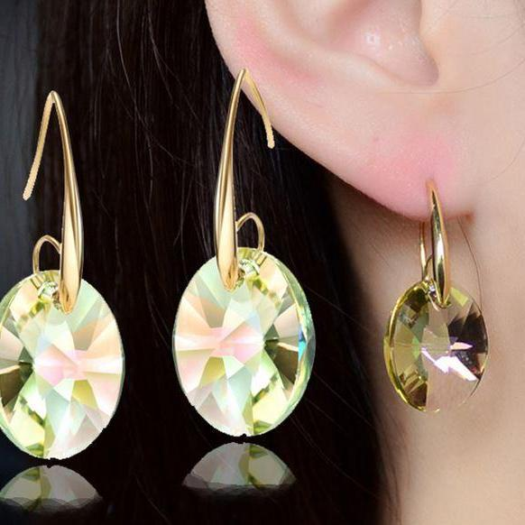 Peridot Earrings AAA Austrian Crystals Gold Plated Green Earrings