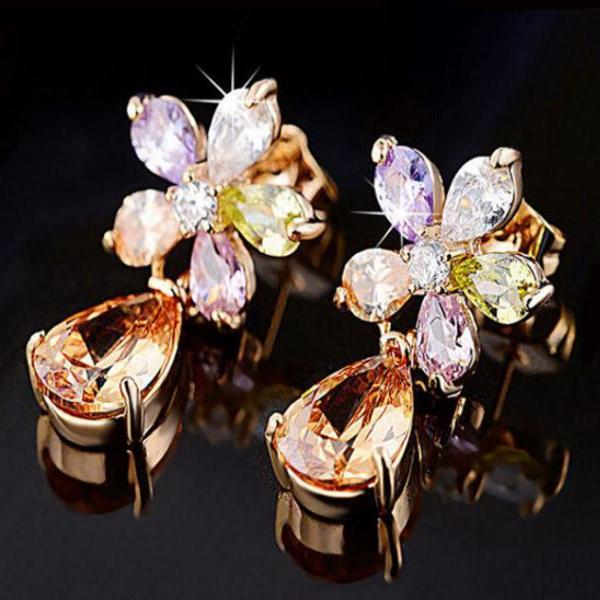 Dazzling Earrings Multi-Color Flower Earrings for Women 18K Gold Plated