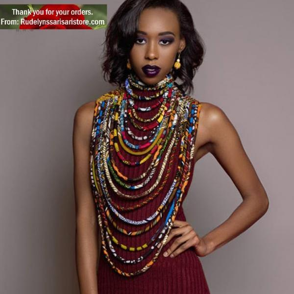Exotic Printed Ankara for African Women Exquisite Neck Warmer Layered Fabric Ankara Necklaces Multilayer Necklaces