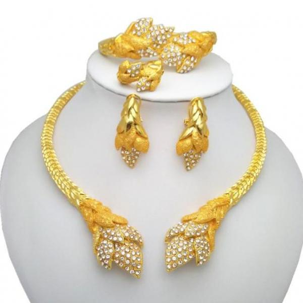 4pcs/SET Big Jewelries for Women 2020 Dubai Gold Color Chunky Necklace Matching Golden Earrings