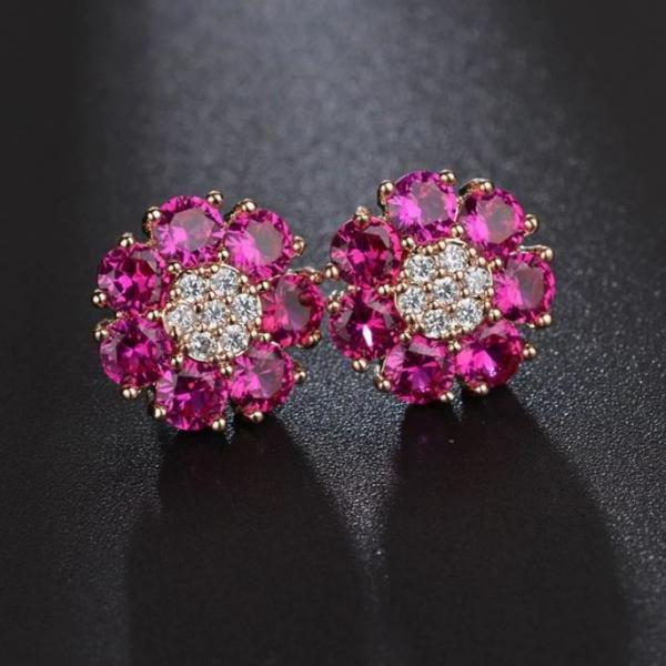 Gold Plated Stud Earrings for Women-Gold Pink Earrings for Girls-Flower Stud Earrings