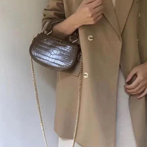 fashion small brown leather phone bags for teenage girls new small purses for women phone carrier golden chain high quality crocodile bags