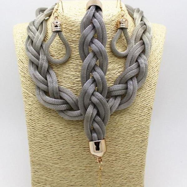 jewelry set for women gray braided silver plated mesh chunky gray twisted jewelry set