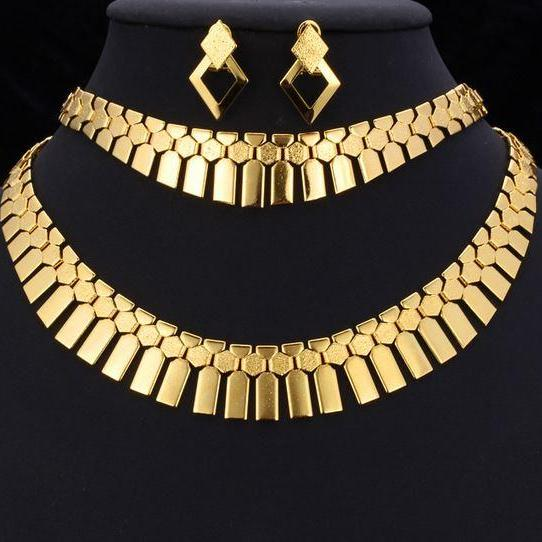 18K gold plated jewelry set for women necklace,earrings and bracelet