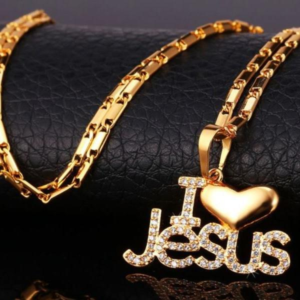 "gold plated necklace for women ""I LOVE JESUS"" heart necklace for teen girls and women 18K gold plated"