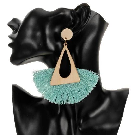 Fashion Ethnic Multi-color Huge Tassel Earrings Geometric Triangular Mintgreen Earrings Mint Green Drop Earrings for Women