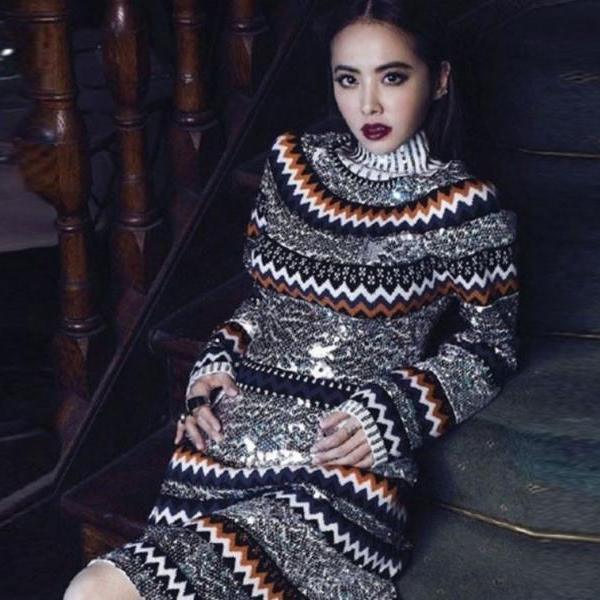 Colorful Runaway Luxury Bling Sequined Colorful Striped Wool Sweater Dress