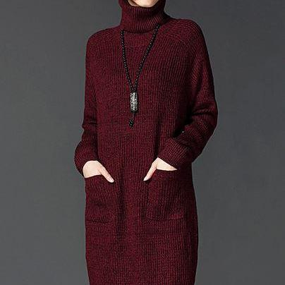 Red Winter Sweater Long Sweater for Women Plus Sizes Free Style
