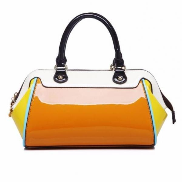 Women Yellow Tote Bag Patent Leather Fashion Wedding Party Shoulder Bag