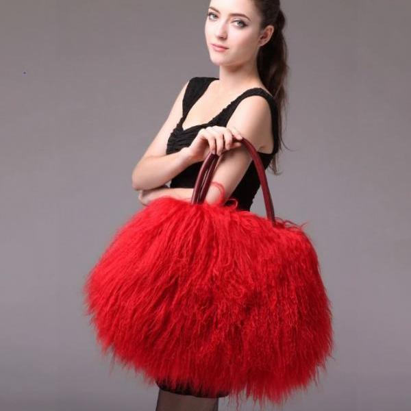 Red Winter Bags Wool Sheep Fur Pillow Traveling Red Bags for Women Warm Wool Large Bags for Women