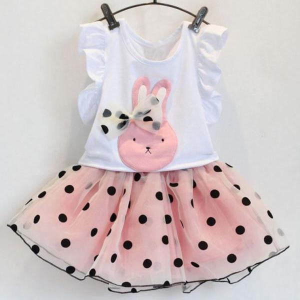 Polka Dots Dress Rabbit Bunny Pink Dress with Bow Polka Dot Pink Dresses
