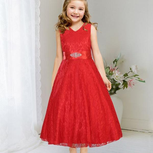 Red Dress for Teen Girls Embroidered Flower Girls Dresses