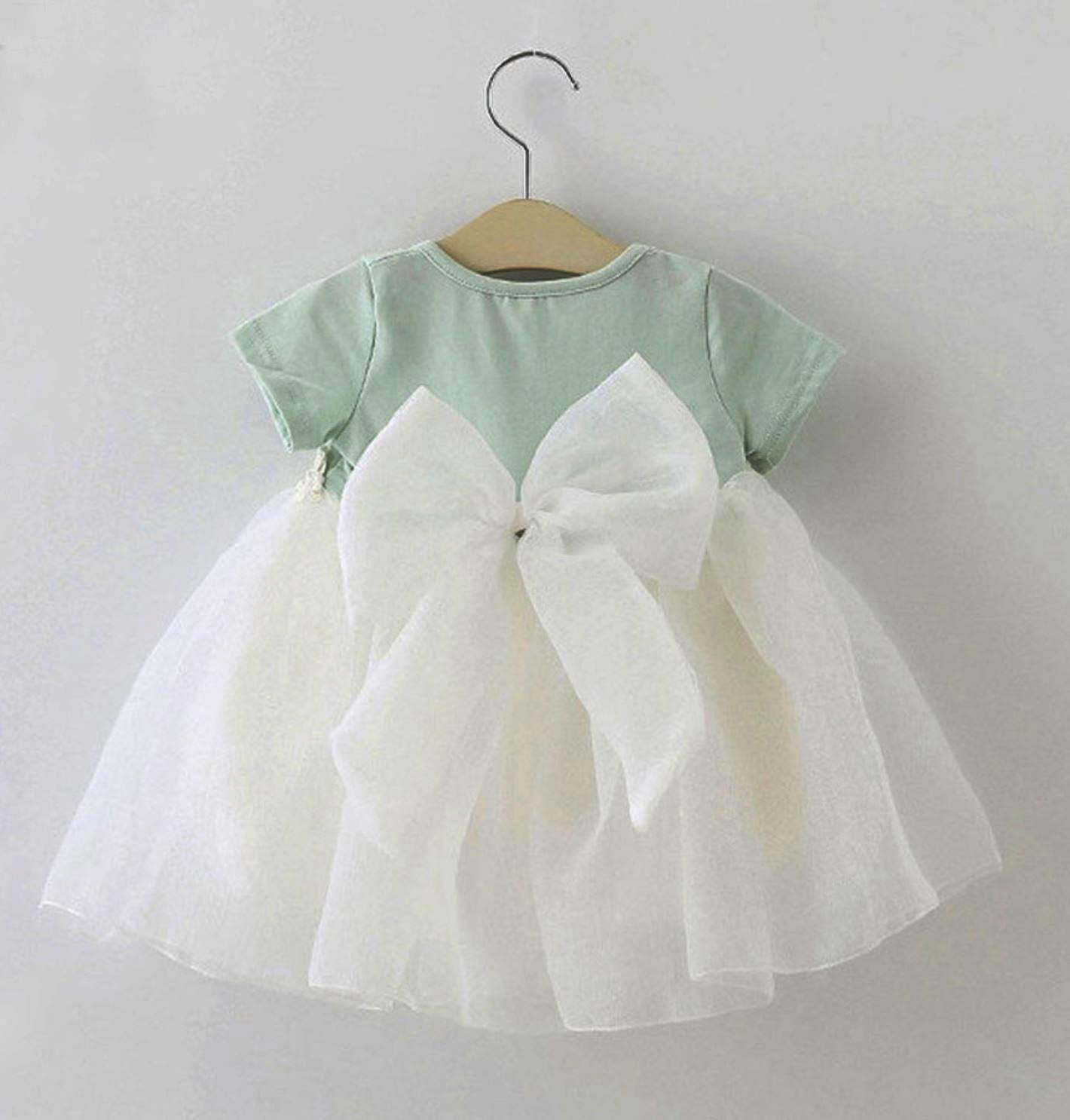 ecbc23625 Bow Knot Mint Green Baby Dress Cotton Baby Shower Gift Granddaughter ...