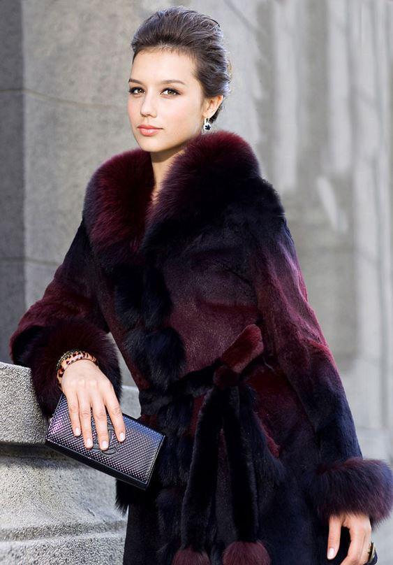 Burgundy Fox Fur Coat For Women Winter Deep Red Fox Fur
